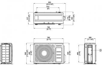 Samsung-Nordic-sieninio-kondicionieriaus-išorinio-bloko-brėžinys-2.6-3.4-kW