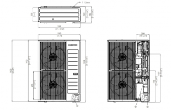 Samsung-Nordic-sieninio-kondicionieriaus-išorinio-bloko-brėžinys-10.0-11.2-kW-trifazis-įrenginys