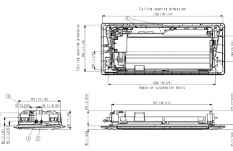 Bevėjės-Samsung-multi-split-1-kryptės-2.6/2.9-KW-kasetės-brėžinys
