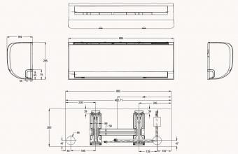 AR35-AF21-Silver-sieninio-kondicionieriaus-vidinio-bloko-2.60-2.90-kW-brėžinys