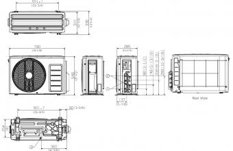 Samsung-multi-split-sistemos-4.0/4.2-kW-išorinio-bloko-brėžinys
