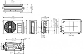Samsung-multi-split-sistemos-5.0/5.6-kW-išorinio-bloko-brėžinys