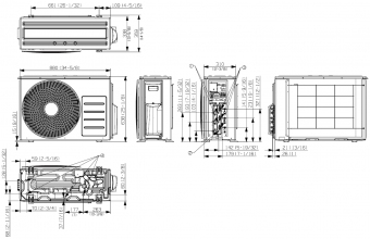 Samsung-multi-split-sistemos-5.2/6.3-kW-išorinio-bloko-brėžinys