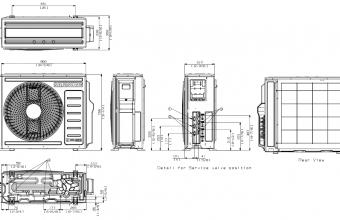 Samsung-multi-split-sistemos-6.8/8.0-kW-išorinio-bloko-brėžinys