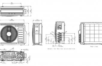 Samsung-multi-split-sistemos-8.0/9.3-kW-išorinio-bloko-brėžinys