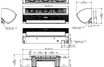 Samsung-komercinės-klasės-sieninio-2.6/3.3-kW-oro-kondicionieriaus-vidinio-bloko-brėžinys
