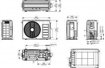 Samsung-komercinės-klasės-sieninio-2.6/3.3-kW-oro-kondicionieriaus-išorinio-bloko-brėžinys