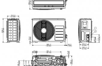Samsung-komercinės-klasės-sieninio-5.0/6.0-kW-kondicionieriaus-išorinio-bloko-brėžinys