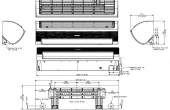 Samsung-komercinės-klasės-sieninis-7.1/8.0-kW-kondicionieriaus-vidinio-bloko-brėžinys