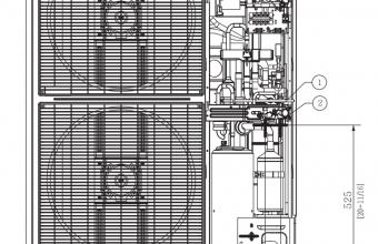 Bevėjės-4-krypčių-kasetės-išorinio-bloko-brėžinys-13.40/15.50-kW-vienfazis-įrenginys