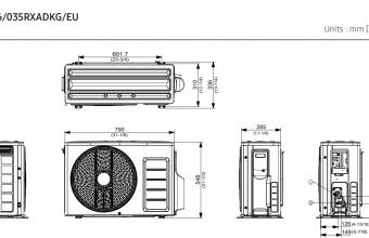 Samsung-bevėjės-mini-4-kryptės-3.5/4.0-kW-kasetės-išorinio-bloko-brėžinys