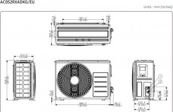 Samsung-bevėjės-mini-4-kryptės-5.0/5.5-kW-kasetės-išorinio-bloko-brėžinys