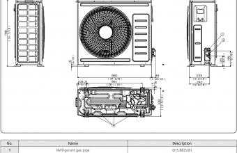 Samsung-bevėjės-mini-4-kryptės-6.8/7.5-kW-kasetės-išorinio-bloko-brėžinys