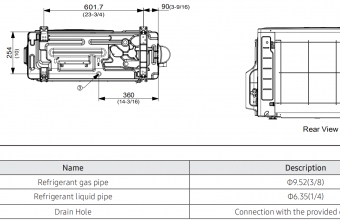 Samsung-konsolinio-tipo-2.6/3.5-kW-oro-kondicionieriaus-komplekto-išorinio-bloko-brėžinys-2
