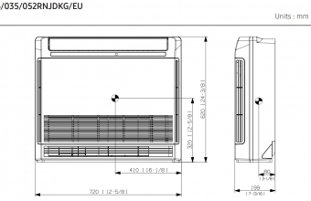 Samsung-konsolinio-tipo-2.6/3.5-kW-oro-kondicionieriaus-komplekto-vidinio-bloko-brėžinys-3