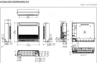 Samsung-konsolinio-tipo-2.6/3.5-kW-oro-kondicionieriaus-komplekto-vidinio-bloko-brėžinys