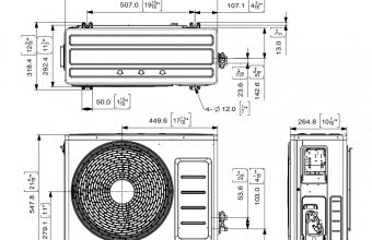 Sieninio-bevėjo-kondicionieriaus-Optimum-išorinio-bloko-brėžinys-2.50-3.20-kW