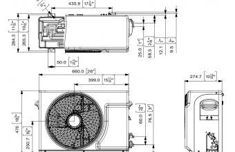 Sieninio-trikampio-formos-kondicionieriaus-išorinio-bloko-brėžinys-2.75-3.20-kW
