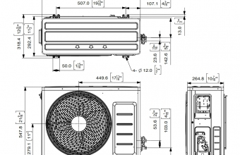 Sieninio-bevėjo-kondicionieriaus-Optimum-išorinio-bloko-brėžinys-3.50-3.50-kW