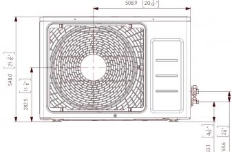 Nordic-Range-Comfort-išorinio-bloko-brėžinys-3.50-4.00-kW-2