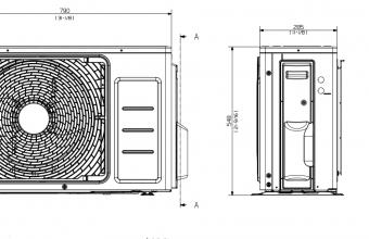 Vidutinio-slėgio-kanalinio-kondicionieriaus-išorinio-bloko-brėžinys-3.5-4.0-kW-2